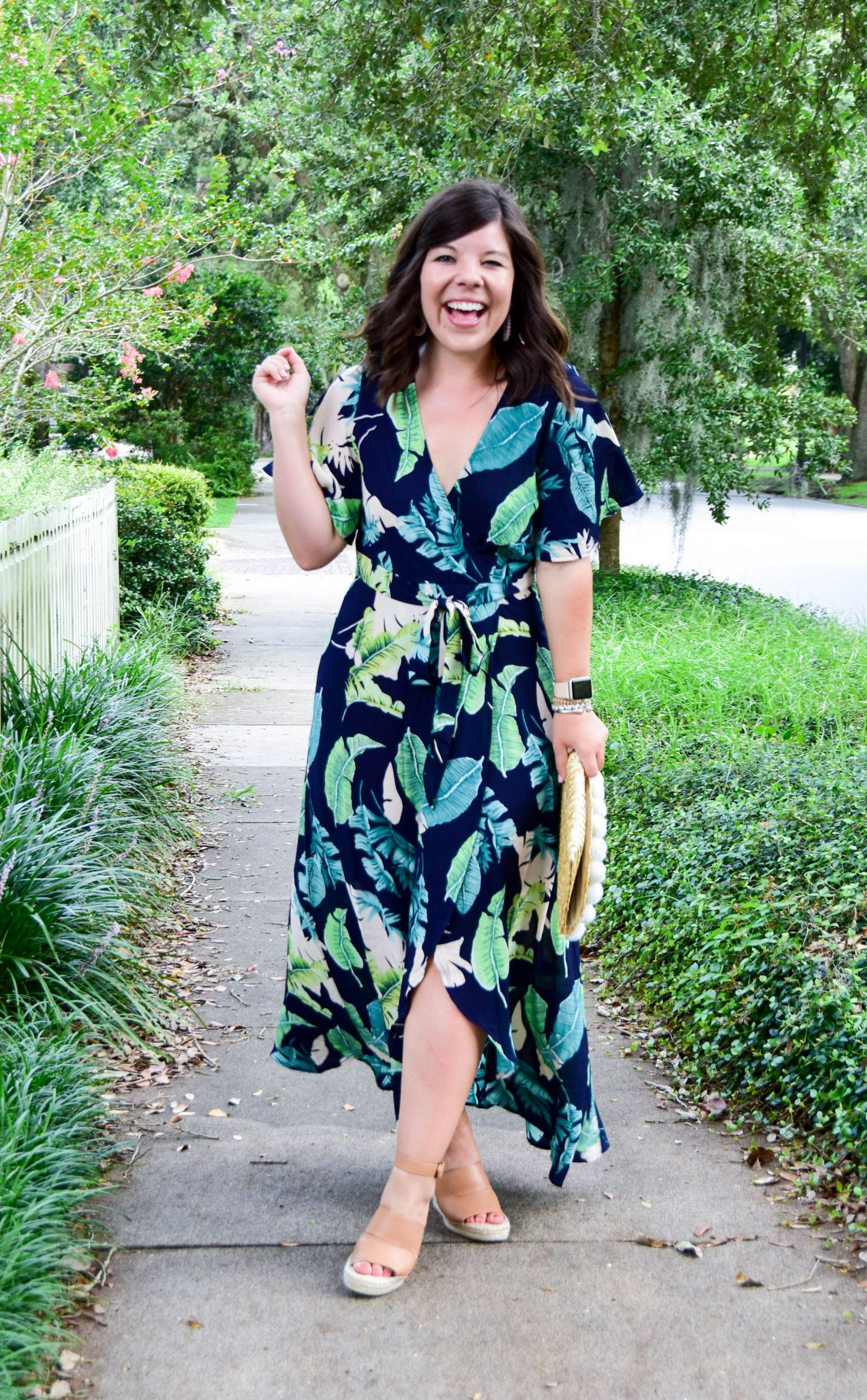 ec3ee8f0ca Palm Print Maxi Dress: c/o SheIn || Must-Have Wedges: Nordstrom || Clutch:  Nordstrom (sold out, similar) || Apple Watch with this band