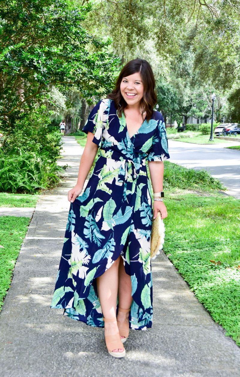 Palm Print Maxi Dress + Date Night