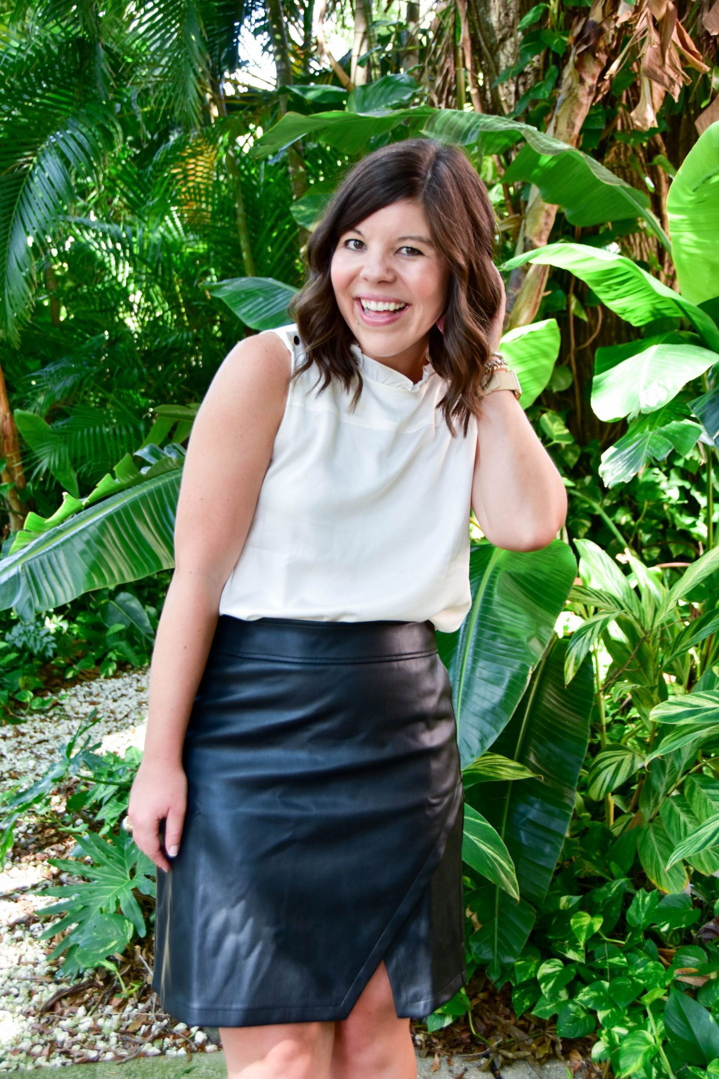 Workweek Chic: Sassy Black Leather Skirt