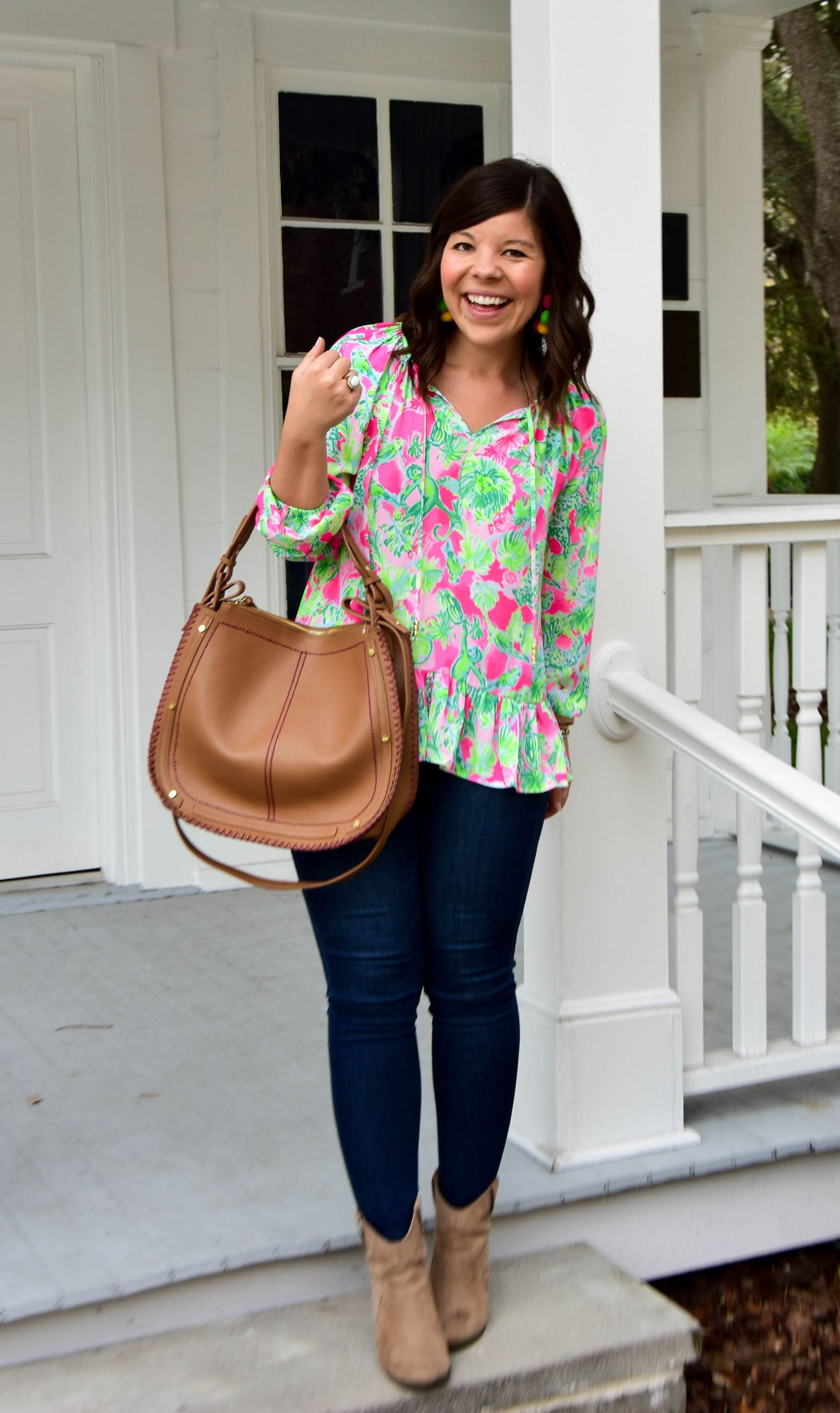 Lilly Pulitzer Tensley Top || Wit & Wisdom Jeans (best ever! Run TTS) || Brown Booties (old, similar linked) || Brown Tote (similar linked) || Pom Pom ...