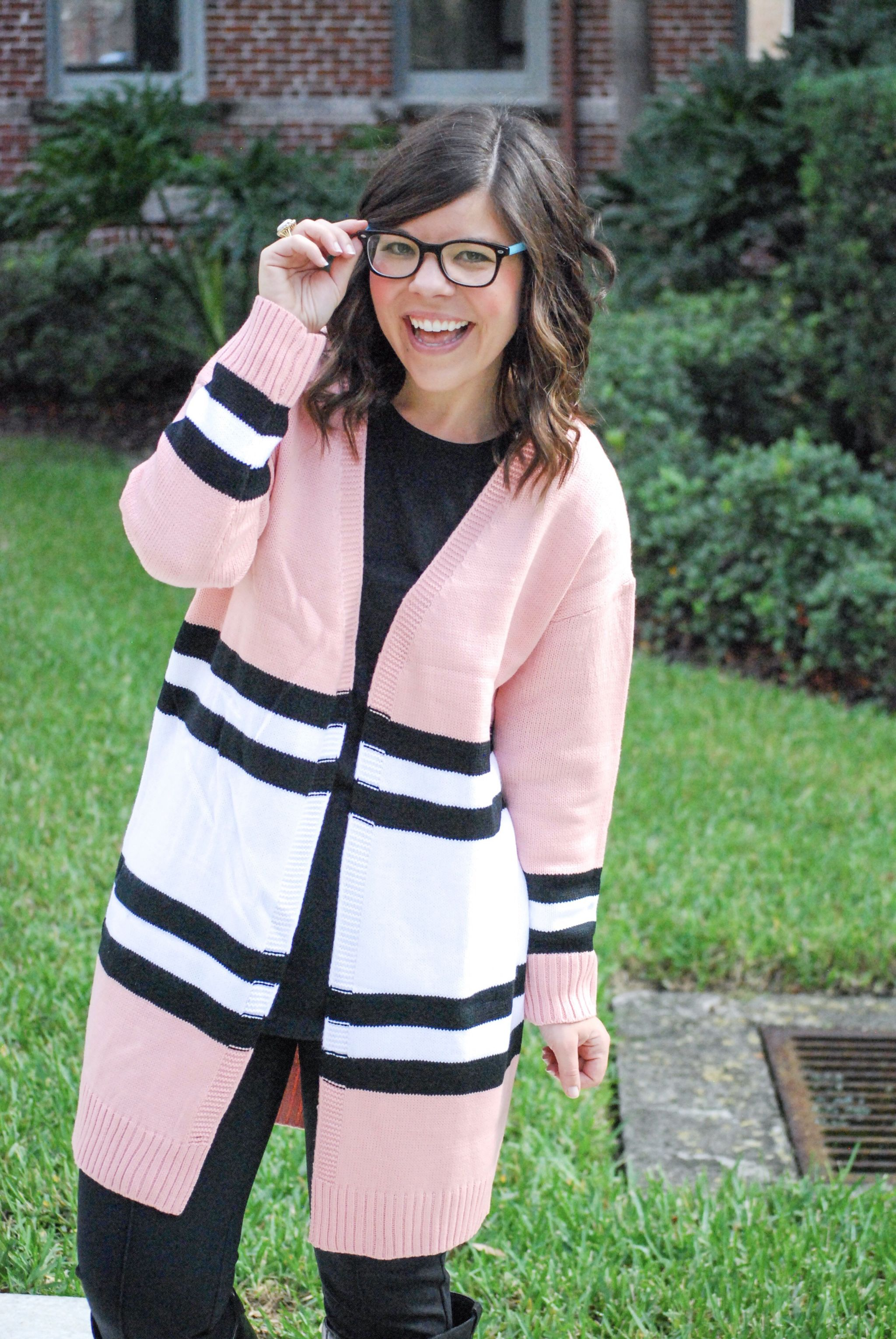Pink Striped Cardigan Under $25!