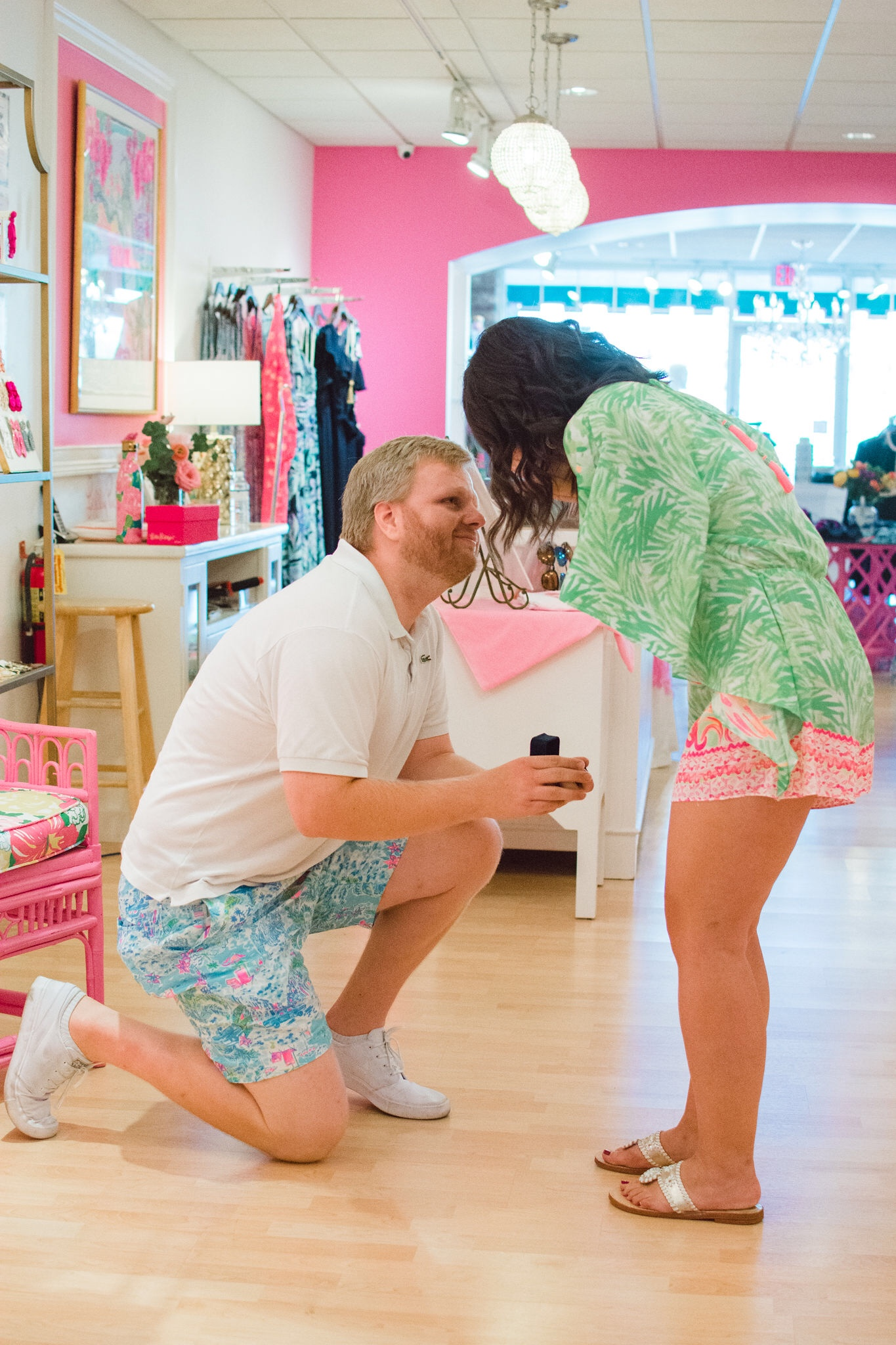 Proposal Picture in the Pink Palm Lilly Pulitzer